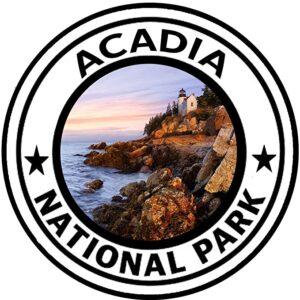Acadia National Park Round Lighthouse Sticker