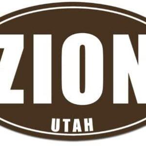 Brown Oval Zion Utah National Park Sticker