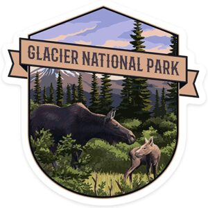 Glacier National Park Montana Moose And Calf Contour Sticker