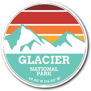 Glacier National Park Retro Mountain Sticker