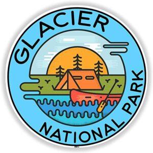 Retro Glacier National Park Indoor Outdoor Sticker