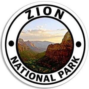 Round Zion National Park Canyon View Sticker