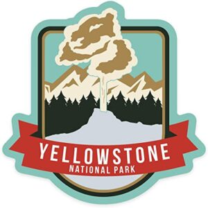 Yellowstone National Park Geyser And Mountains Sticker