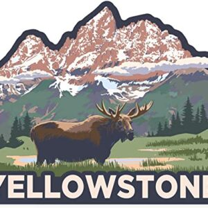 Yellowstone Np Wyoming Moose And Mountains Contour Sticker