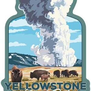 Yellowstone Old Faithful And Bison Herd Sticker