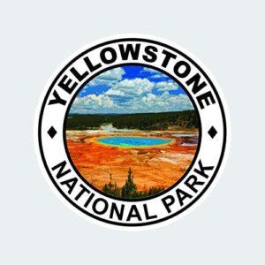 Yellowstone Old Faithful Round Sticker Decal