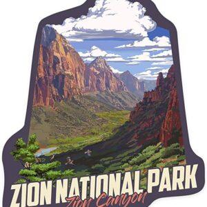 Zion Canyon View Vinyl Die Cut Sticker
