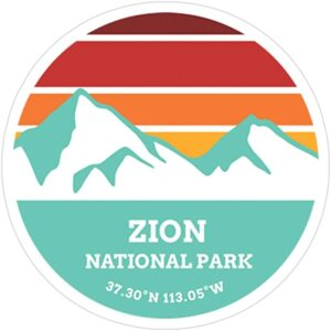 Zion National Park Retro Mountain Sticker