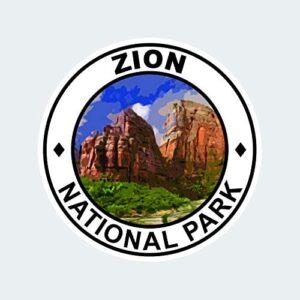 Zion National Park Round Sticker