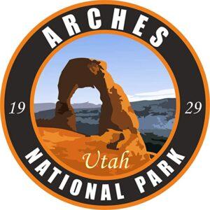 Arches National Park Sticker Vinyl Black Round Sticker