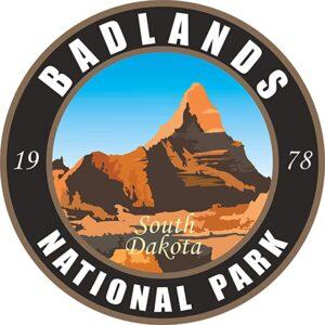 Badlands National Park Round Black Sticker