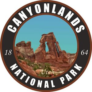 Canyonlands Vinyl Black Round Sticker
