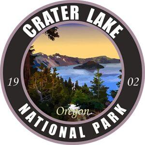 Crater Lake National Park Dark Round Sticker
