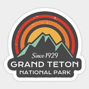 Grand Teton National Park Retro Dark Sticker