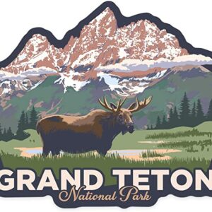 Grand Teton National Park Wyoming Moose And Mountains Sticker