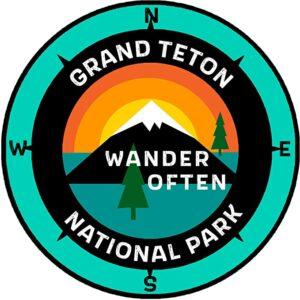 Grand Teton National Park Wyoming Wander Often Sticker