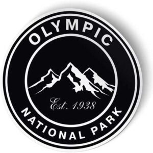 Olympic National Park Black Round Sticker