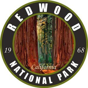 Redwood National Park Black Round Sticker