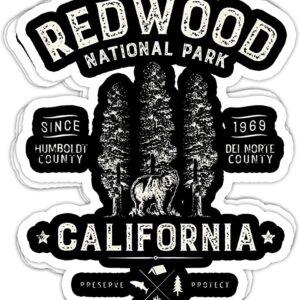 Redwood National Park Vintage California Bear Sticker