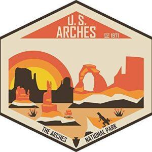 Retro Arches National Park Sticker Decal