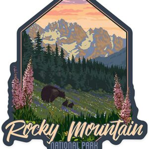 Rocky Mountain National Park Bear And Flowers Sticker