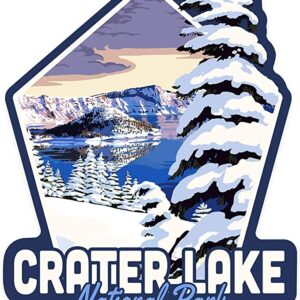 Snowy Crater Lake National Park Die Cut Sticker