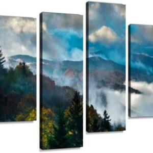 4 Panel Smoky Mountains National Park Sunrise Wall Art Prints