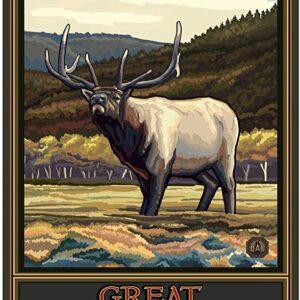 Great Smoky Mountains National Park Elk Retro Travel Poster