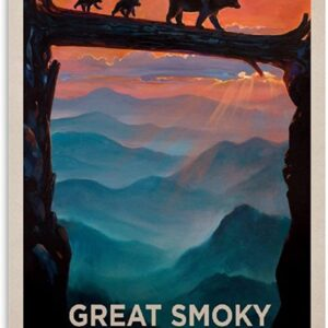 Great Smoky Mountains National Park Vintage Bear Crossing Poster