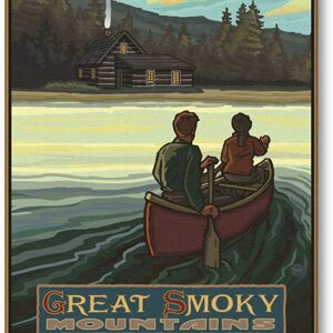Great Smoky Mountains Vintage Canoeing Print