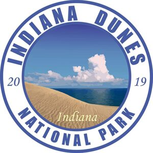 Indiana Dunes National Park Vinyl Round Sticker White
