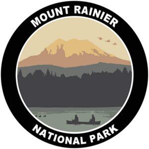 Mount Rainier Black Round Sticker