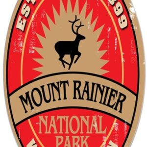 Mount Rainier National Park Oval Elk Decal