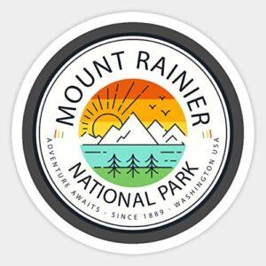 Mount Rainier National Park Retro Sticker