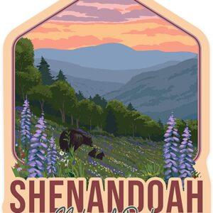 Shenandoah National Park Bear & Flowers Sticker