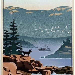 Acadia National Park Retro Poster
