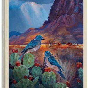 Big Bend National Park Retro Canvas Bird Print
