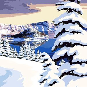 Crater Lake National Park Snowy Landscape Print