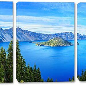 Crater Lake Oregon 3 Panel Art Print