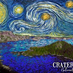 Crater Lake Starry Night Poster
