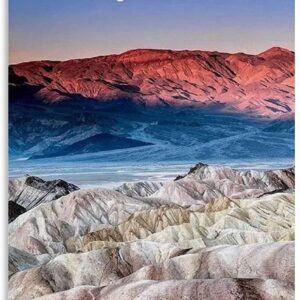 Death Valley National Park Poster Moon Over Mountains Art Print