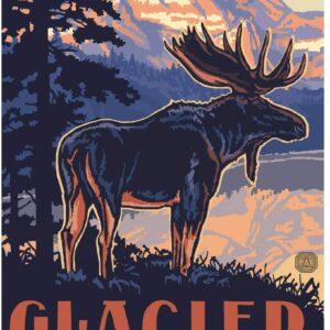 Glacier National Park Moose Poster