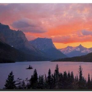 Glacier National Park St Mary Lake Sunset Wall Poster