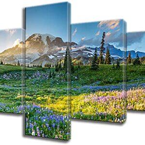 Mount Rainier 5 Panel Canvas Art Print