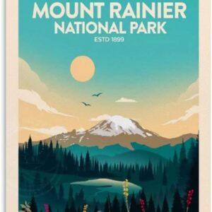 Mount Rainier National Park Retro Poster