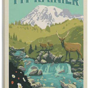 Mount Rainier National Park Vintage Print