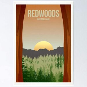 Redwoods National Park Poster Sunset Poster