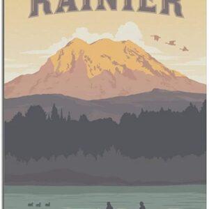 Retro Mount Rainier Washington Poster