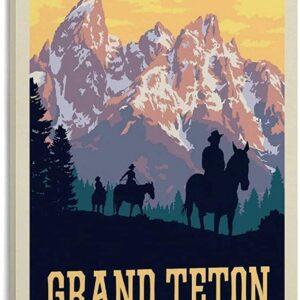 Vintage Grand Teton National Park Cowboy Poster