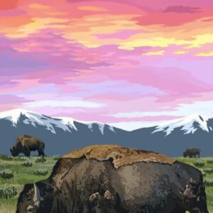 Yellowstone National Park Bison And Sunset Wall Decor